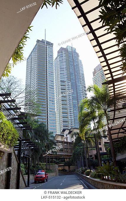 Luxury apartment buildings in Makati City, the financial district in the center of the capital Metro Manila, Philippines, Asia