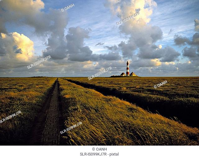 Westerhever lighthouse in marshland, Schleswig-Holstein, Germany