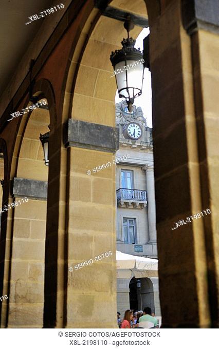 Arcades of the Plaza de Guipúzcoa in the old part of San Sebastian, Basque Country, Spain