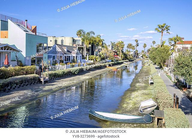 Residential homes in Venice canals, Los Angeles, California