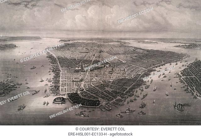 1851 bird's eye view of New-York, looking north over the length of Manhattan with Battery Park and Castle Garden in the foreground