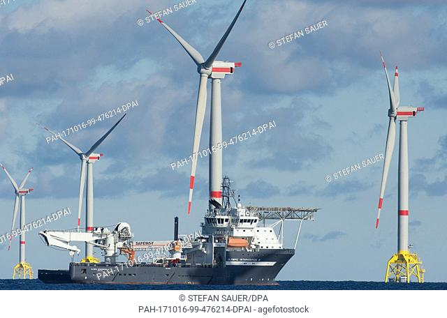 Offshore wind turbines stand at the Baltic Sea wind farm Iberdrola 'Wikinger' on the Baltic Sea near Sassnitz, Germany, 10 October 2017