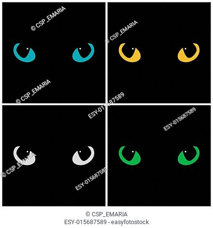 Wild cat eyes on black background. Vector set