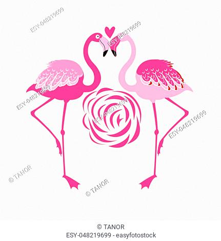 Vector illustration of an enamored pink flamingo on a white background