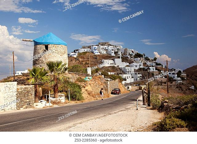View to the Kastro village situated on a hill by the sea, Sifnos, Cyclades Islands, Greek Islands, Greece, Europe