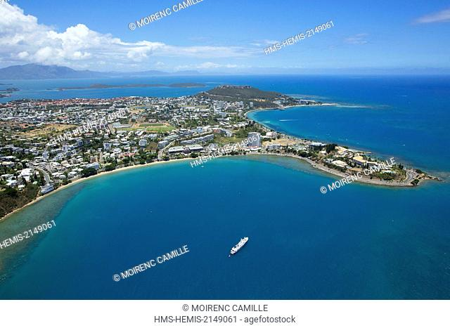 France, New Caledonia, Grande-Terre, Southern Province, Noumea, Bay of Lemons and Anse Vata in the background, Rock of Sailing (aerial view)