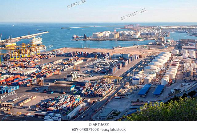 Top view above Zona Franca - Port, the industrial port of Barcelona.This industrial area is one of the most important commercial regions in Catalonia
