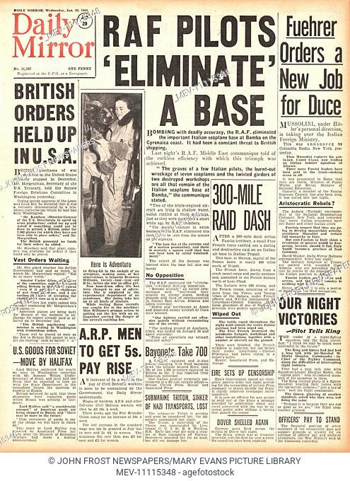 1941 front page Daily Mirror RAF raid Italian base at Bomba