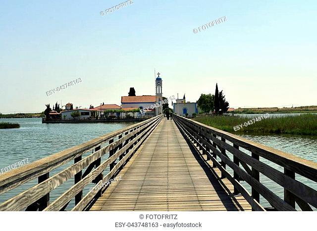 Greece, Porto Lagos, monastery Agios nicolaos situated on a tiny island in Vistonida lake