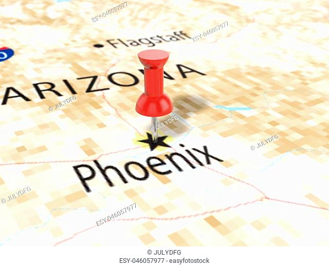 Pushpin on Phoenix map background. 3d illustration
