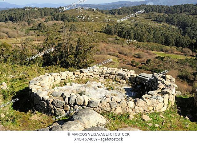 Vestiges of an old pre-roman settlement named Berobriga  O Facho, Cangas, Galicia, Spain