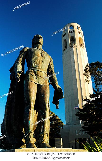 Christopher Columbus stands tall at the Coit Tower, San Francisco