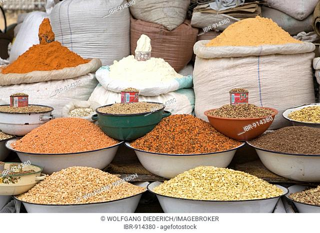 Various legumes at a market, Asmara, Eritrea, Horn of Africa, East Africa