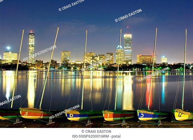 Boats and Boston skyline, USA