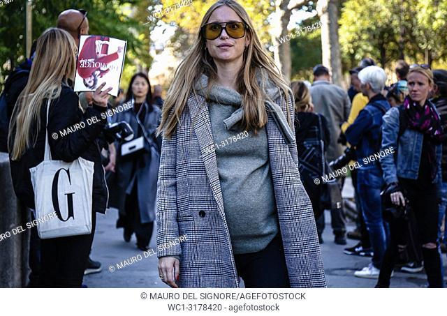 PARIS, France- September 26 2018: Pernille Teisbaek on the street during the Paris Fashion Week