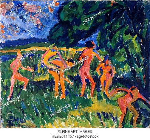 Bathers at the Forest Pond, 1910. Artist: Heckel, Erich (1883-1970)