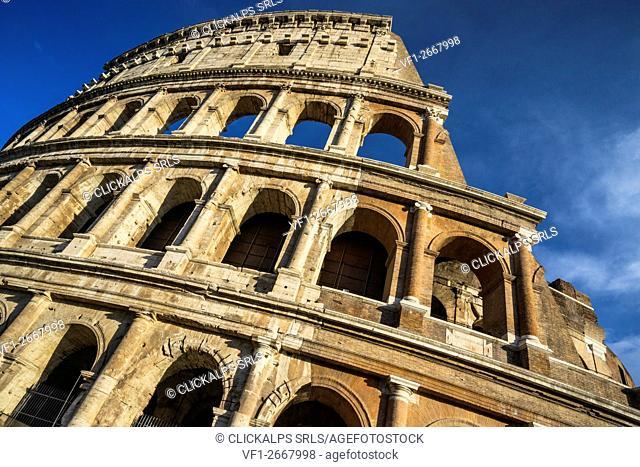 Piazza del Colosseo, Rome, Lazio. The Amphitheatrum Flavius of Colosseum