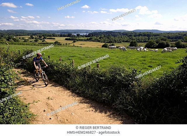 France, Nièvre, Settons Lake, cycling discovery