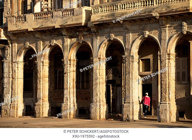 dilapidated facades and columns of Malecon in Havana, Cuba, Caribbean