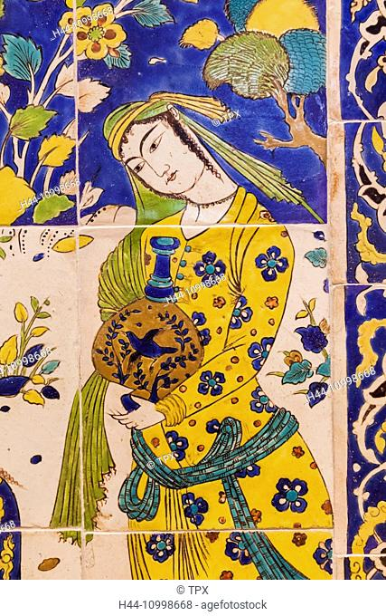 England, London, Kensington, Victoria and Albert Museum aka V&A, The Islamic Middle East Room, Iranian Tile Panel depicting a Picnic Scene dated 1600-1700