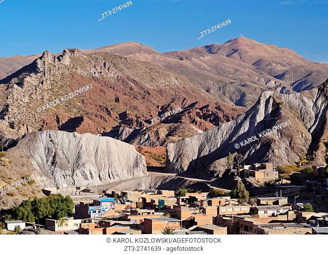 Bolivia, Potosi Department, Sud Chichas Province, Tupiza, Landscape of the mountains and the city of Tupiza viewed from the Mirador Corazon de Jesus