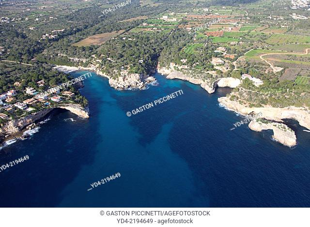 Aerial View of Cala Llombards, Mallorca, Balearic Island, Spain