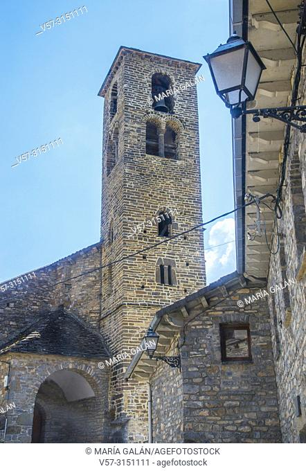 Romanesque bell tower of the church. Oto, Huesca province, Aragon, Spain