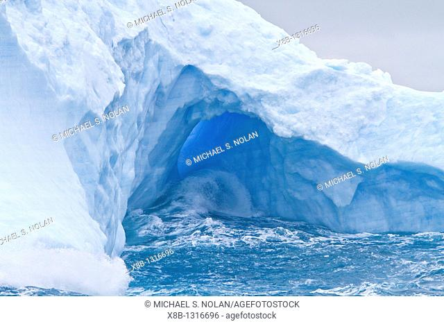 Iceberg detail in and around the Antarctic Peninsula during the summer months, Southern Ocean  MORE INFO An increasing number of icebergs is being created as...