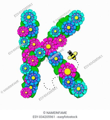 "K, in the alphabet set """"Tropical Garden"""", is shaped from fun flowers in fuschia, blue, and aqua flowers and green leaves"