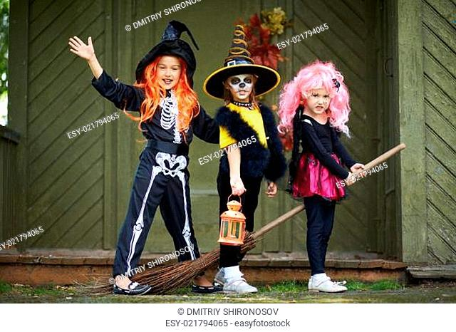 Halloween girls on broom