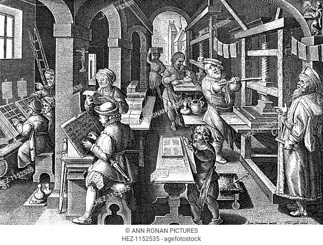 Printing office, c1600. On the left compositors are at work setting up text using letters from a 'case' in front of them