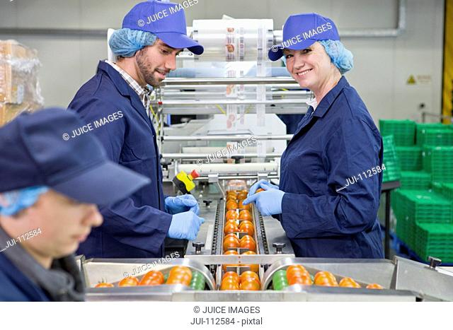 Portrait smiling quality control worker inspecting tomatoes on production line in food processing plant