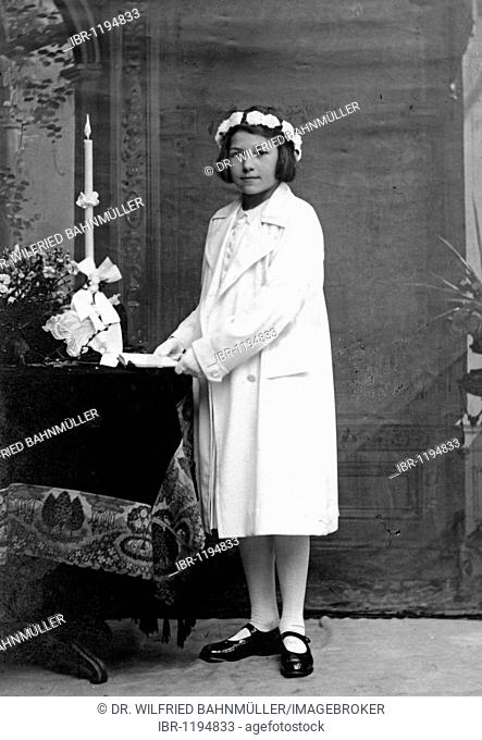 First Communion child 1932, Upper Bavaria, Germany, Europe