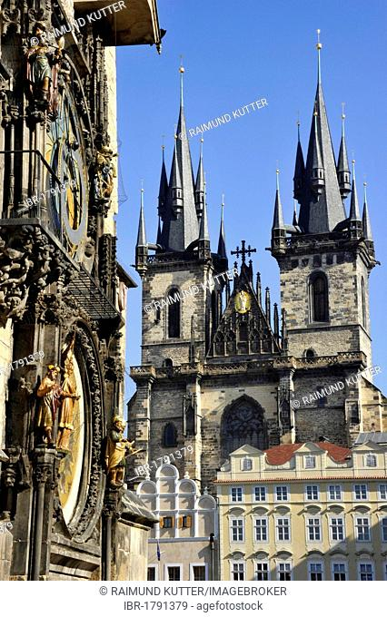 Prague Astronomical Clock on the clock tower of the Old Town City Hall, Tyn Church, Old Town Square, historic district, Prague, Bohemia, Czech Republic, Europe