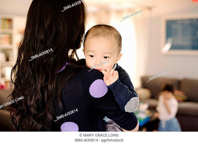 USA, Young woman carrying son (2-3) in living room