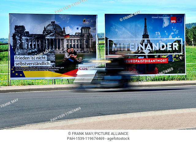 Election posters for the election of the european parliament, Germany, city of Osterode, 25. April 2019. Photo: Frank May | usage worldwide