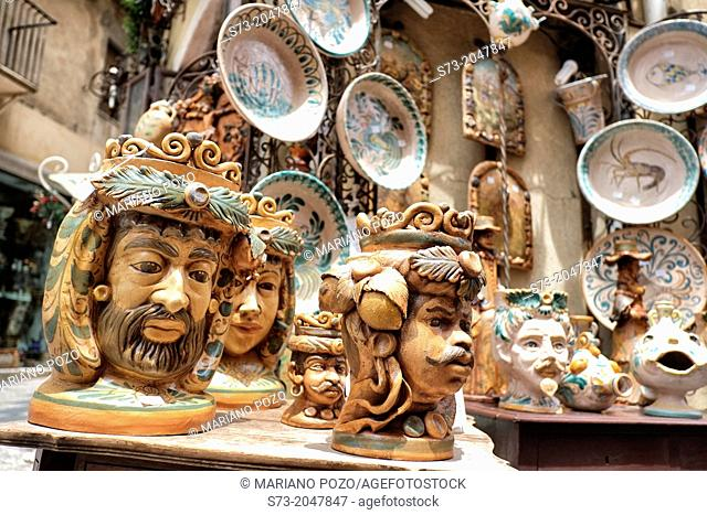 Ceramics shop in Taormina, Sicily, Italy