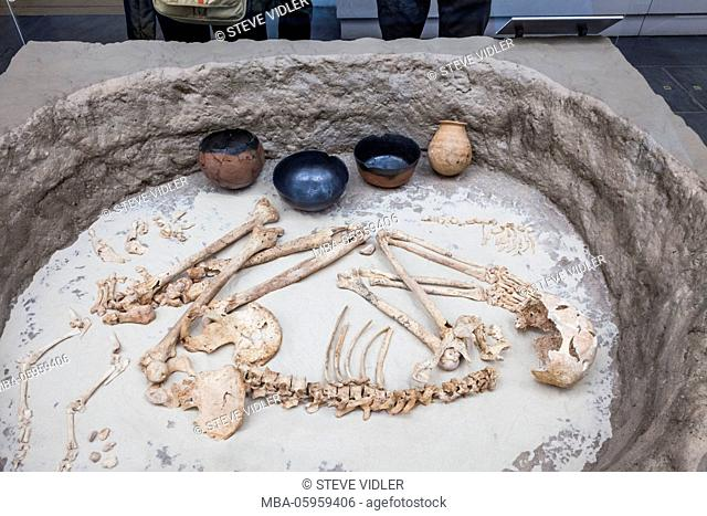 England, London, British Museum, Reconstruction of a Kerma Culture Burial from Nubia dated 2050-1750 BC
