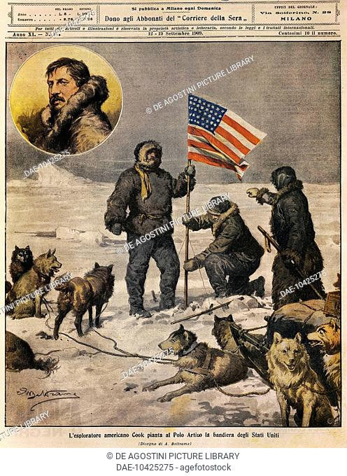 The American explorer Cook planting the US flag in the North Pole, illustration by Achille Beltrame (1871-1945), from La Domenica del Corriere, September 12