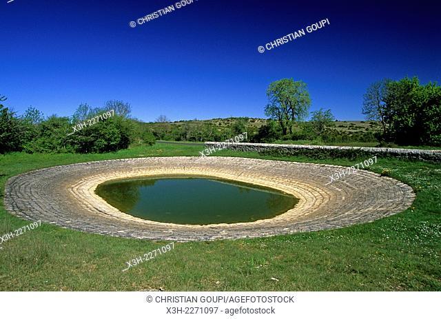 'Lavogne'' watering place, Hermilix farm on the Larzac plateau, near Saint-Affrique, Aveyron department, Midi-Pyrenees region, France, Europe