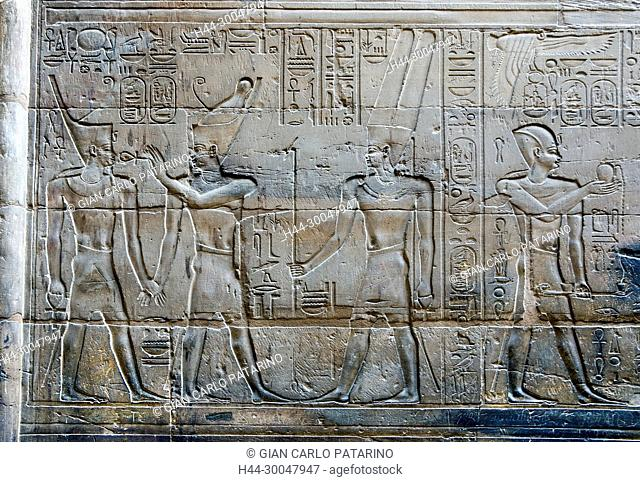 Luxor, Egypt. Temple of Luxor (Ipet resyt): the pharaoh with various deities
