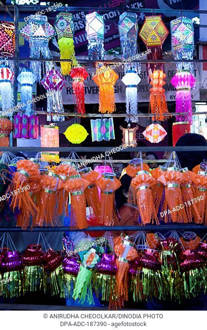 colourful diwali lanterns vendor stall Mumbai Maharashtra India Asia