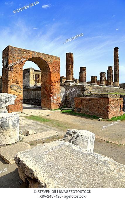 Arch and Temple of Jupiter in the Forum, Pompeii, Italy