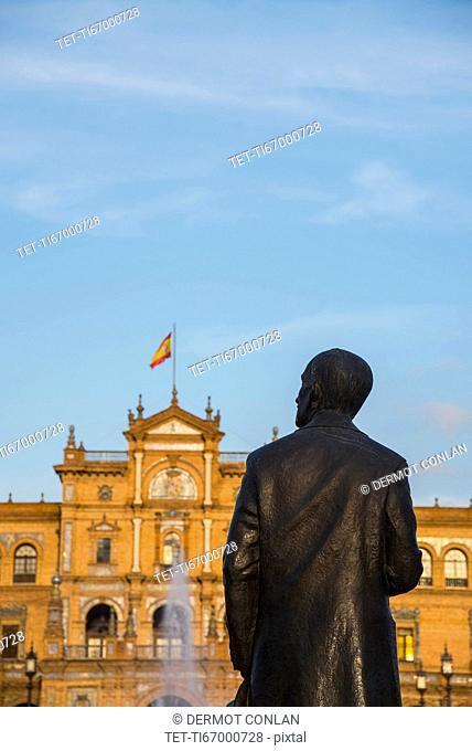 Spain, Seville, Monument at Plaza De Espana
