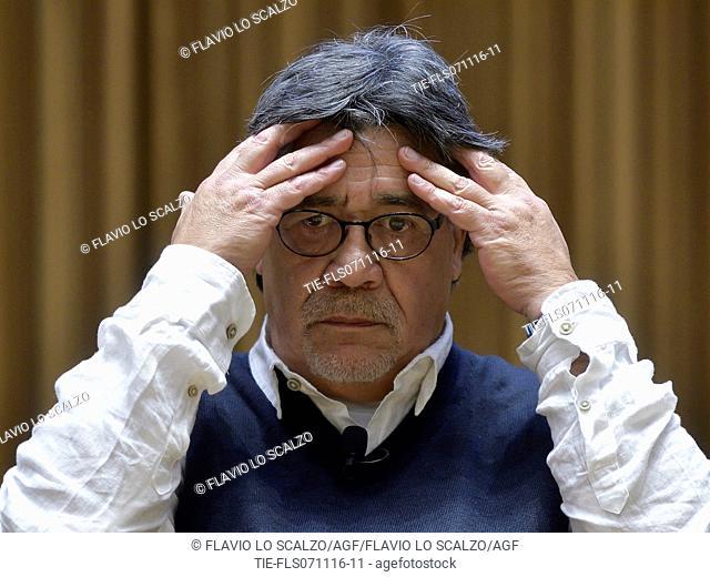 Luis Sepulveda during the meeting, Milan, ITALY-06-11-2016