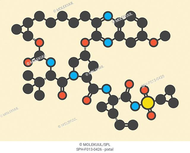 Grazoprevir hepatitis C virus drug molecule (protease inhibitor). Stylized skeletal formula (chemical structure). Atoms are shown as color-coded circles:...