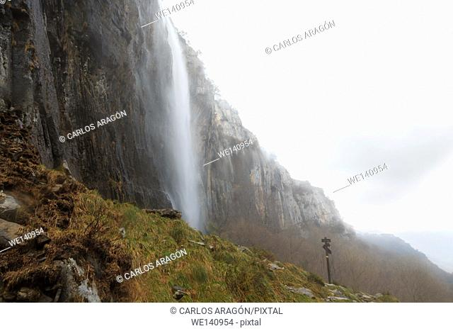 Panoramic of the waterfall at the source of the river Ason, Cantabria, Spain