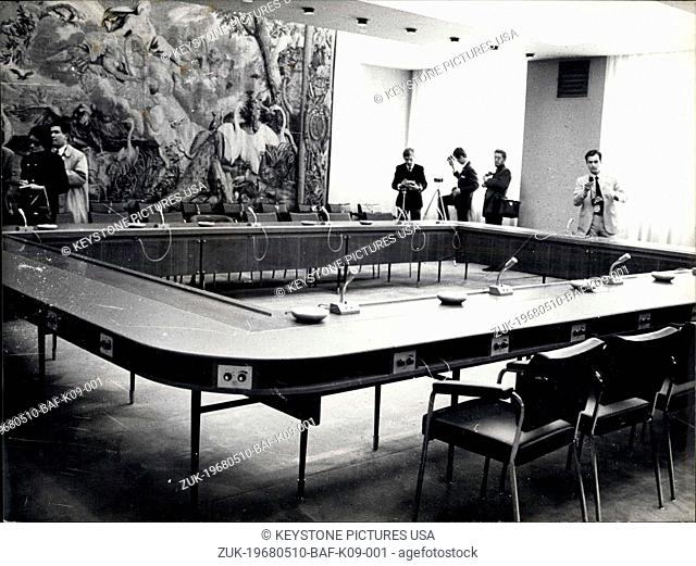 May 10, 1968 - Vietnam: Peace Talks Open In Paris: Photo Shows The conference room at the international conferences center (Formerly Hotel Majestic) where the...