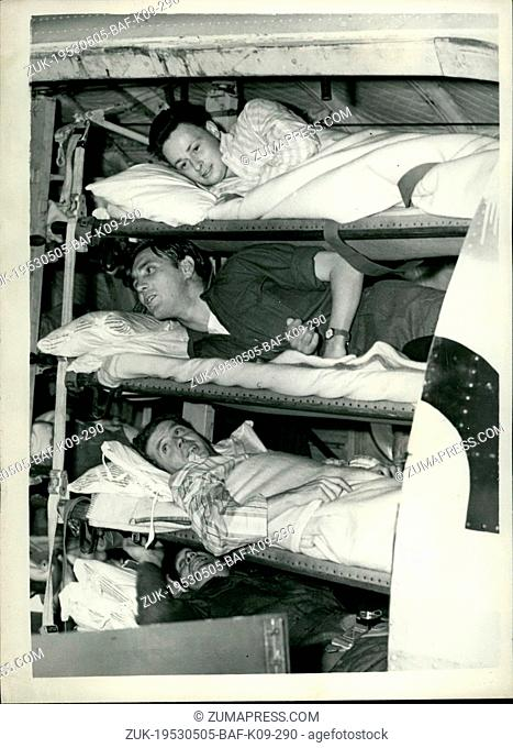 May 05, 1953 - Families welcome the prisoners from Korea. Stretcher cases in the aircraft.: The first twenty-two prisoners of war from Korea released by the...