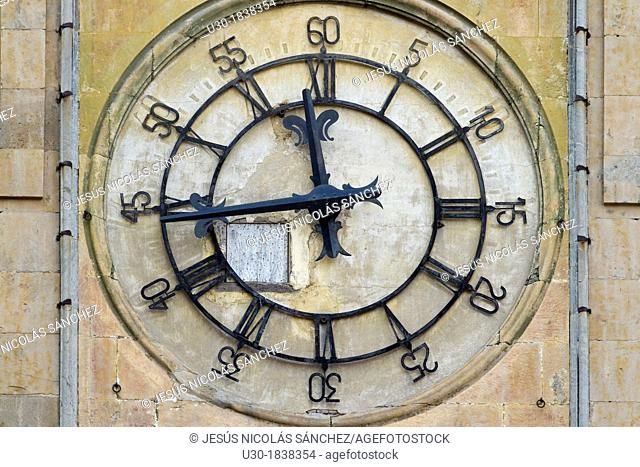 Clock on the New Cathedral tower, Salamanca, city declarated World Heritage by UNESCO  Castilla y León  Spain